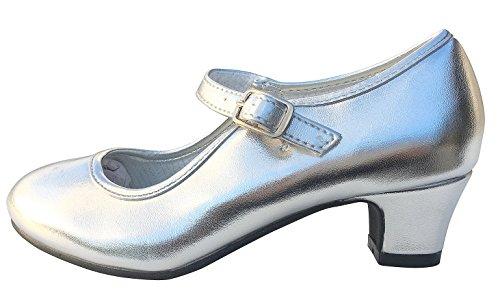 La Senorita Spanische Flamenco Schuhe Prinzessinnen Schuhe Silber (Größe 35 - Innenmaß 22,5 cm)