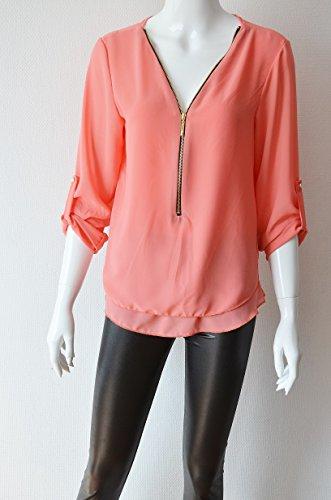 Oh My Shop CAD08 - blouse met omslagbare mouwen, eenkleurig, ritssluiting - mode dames