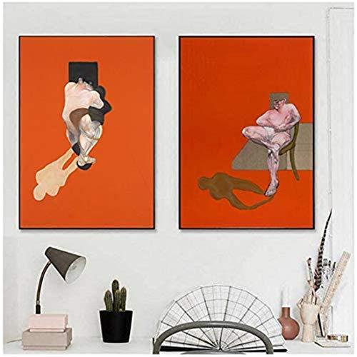 Refosian Francis Bacon Berühmter Künstler Abstrakter Charakter Druck Leinwand Malerei Poster Wohnzimmer Dekor Wandkunst -60x80cmx2 Kein Rahmen