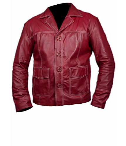 Feather Skin Giacca Uomo Fight Club Brad Pitt Pelle Giacca in Red Colour- M