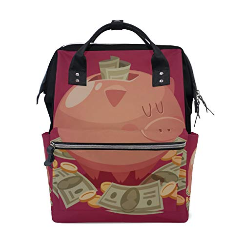 Rosa Schwein Sparschwein Geld Große Kapazität Windel Taschen Mummy Rucksack Multi Funktionen Wickeltasche Tasche Handtasche Für Kinder Babypflege Reise Täglichen Frauen