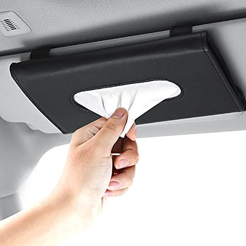 Bil solskärm servetthållare, hängande bil näsdukslåda, för bil solskydd och sätesrygg, svart, 23 x 13 x 3 cm