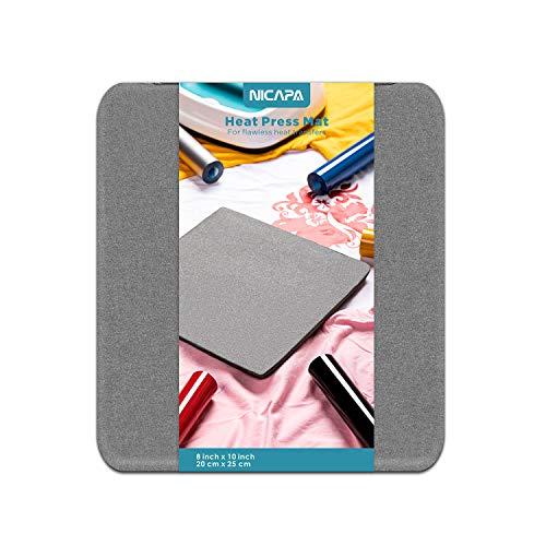 Nicapa Heat Press Mat for Cricut Easypress(8x10 inch) Cricket Craft Vinyl Ironing Insulation Transfer Heating Mats for Easypress 2