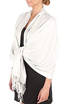 Sakkas Large Soft Silky Pashmina Shawl Wrap Scarf Stole in Solid Colors - White