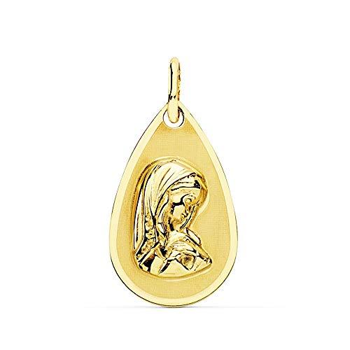 Medalla Oro 18K Virgen Niña 19mm. Forma Gota Borde Liso [Ac0974Gr] - Personalizable - Grabación Incluida En El Precio