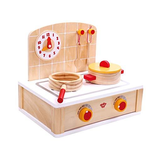 Tooky Toy Spielzeug Herd mit Kochplatten, Regler, Topf, Pfanne, Kochlöffel und kleiner Wanduhr - Spielküche als perfekte Vorbereitung für Kinder - ab 36 Monaten - ca. 30 x 23 x 26 cm