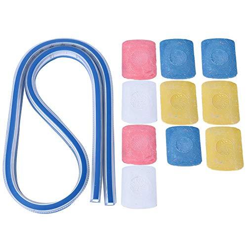 Regla de curva flexible, herramienta de cinta métrica de dibujo de regla de curva flexible de plástico profesional con 10 piezas de tiza de sastrería(60cm)