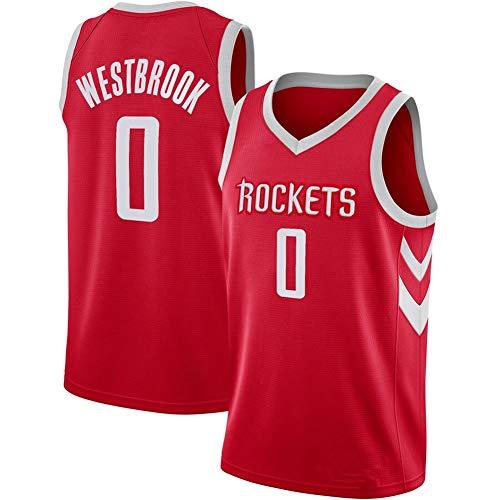 DXG NBA Houston Rockets # 0 Russell Westbrook Camiseta de Baloncesto Ropa Deportiva Camiseta sin Mangas Bordada Transpirable Light Sport Vest Top,Rojo,L
