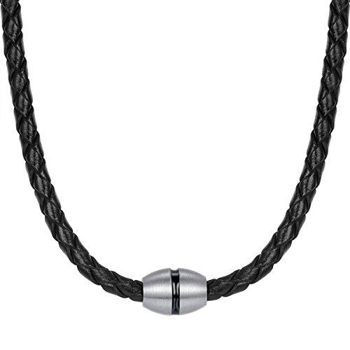 True Rebels Herren-Kette Echtleder schwarz Edelstahl 48 cm - Lederkette Mann Edelstahl Lederhalskette Männer Schmuck Halskette