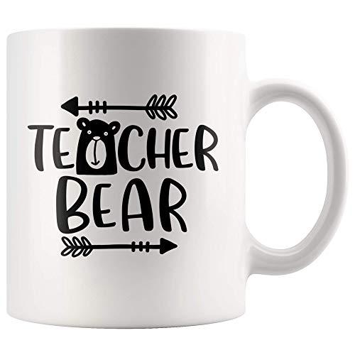NA Taza de Oso para Maestros, Regalo para Maestros de jardín de Infantes, Taza de café para Maestros de Preescolar, Taza de té de Regalo, 11 oz