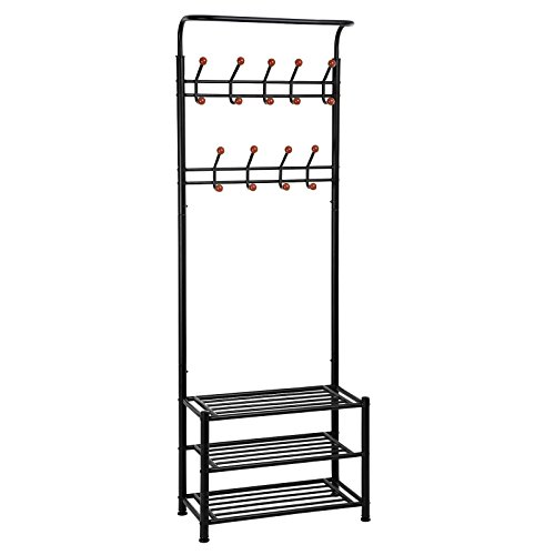 SONGMICS Entryway Coat Rack with Storage Shoe Rack Hallway Organizer 18 Hooks and 3-Tier Shelves Metal Black URCR67B