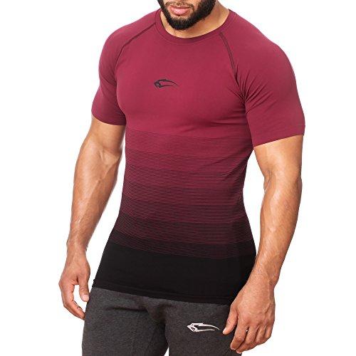 SMILODOX Herren Seamless T-Shirt Process Seamless - Kurzarm Funktionsshirt für Sport Fitness Gym & Training | Trainingsshirt - Laufshirt - Sportshirt mit Aufdruck, Größe:L, Farbe:Bordeaux