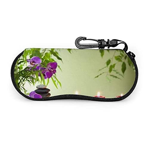 Gokruati Brillenetui mit Schlüsselschloss Spa Stillleben Kerzen Orchideen Tragbare Neopren-Reißverschluss-Sonnenbrille Weiches Etui 8 * 17CM (3 1 * 6 7 Zoll)