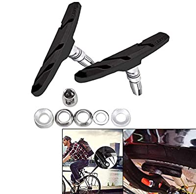 VinBee 6 Pairs V Bike Brake Pads with Hex Nuts and Spacers, Road Mountain Bicycle Cycle Rubber V-Brake Blocks Shoes,No Noise No Skid