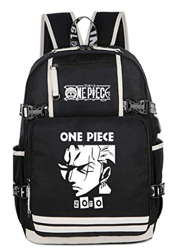 WANHONGYUE One Piece Anime Luminoso Mochila Escolar Estudiante Backpack para Portátil con Puerto de Carga USB /6