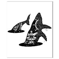 キャンバスに印刷ミニマリスト動物クジラ家族北欧スタイル抽象絵画ポスターキャンバス壁アート寝室家の装飾(50x70cm)1pcsフレームなし