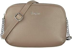 David Jones - Damen Mittelgroße Umhängetasche Viele Taschen Fächer - Reißverschluss Multi Pocket Schultertasche PU Leder...