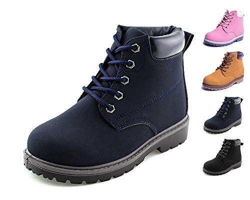 JABASIC Kids Lace-Up Ankle Boots Boy Girl Waterproof Martin Shoes (7 M US Toddler, Navy)