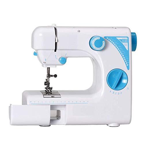 UFLIZOGH Máquina de Coser portátil Eléctrica 19 Puntadas Mini Domestica Luz de Iluminar Costura automática para Principiantes (Azul)