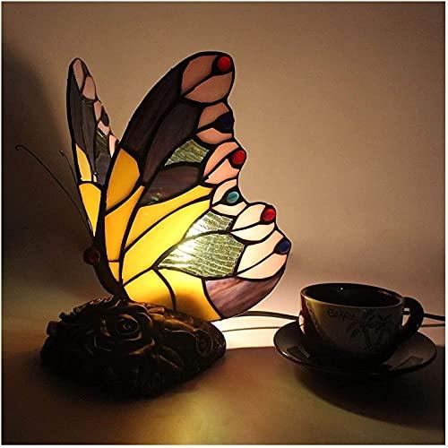 YHQKJ Lámpara de Mesa Tiffany, lámpara de Mesa de Mariposa Creativa Pastoral de Manchas, luz Nocturna for niños for habitación de Dormitorio