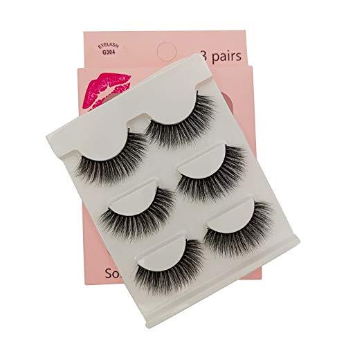 SHIDISHANGPIN 3 paires de cils Cils naturels 3D Essential Beauty Essentials Fluffy Faux Cils Maquillage Professionnel Épais Faux-Cils Réutilisables Fabriqués à la Main # G304