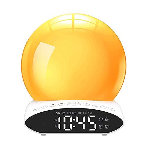 Huante - Reloj despertador ligero al levantar del sol – Los ojos nocturna con reloj de proyección, radio FM, sonidos de la naturaleza para los niños