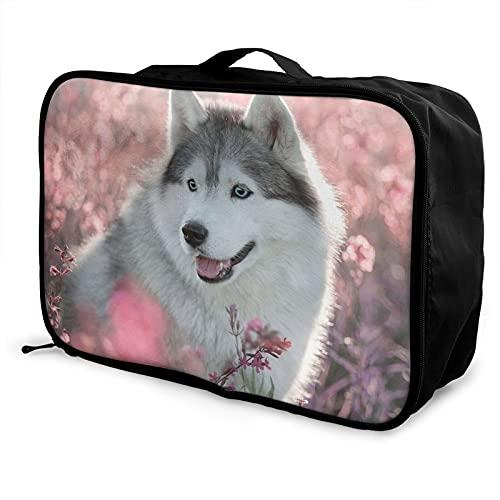 Husky Maleta Bolsa de almacenamiento, ligera, de gran capacidad, plegable bolsa de almacenamiento de ropa, bolso de viaje a la escuela