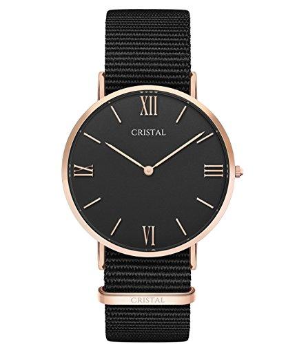 Montre Cristal Or Rose - Cadran Noir - Bracelet Nylon Noir (Noir/Noir)