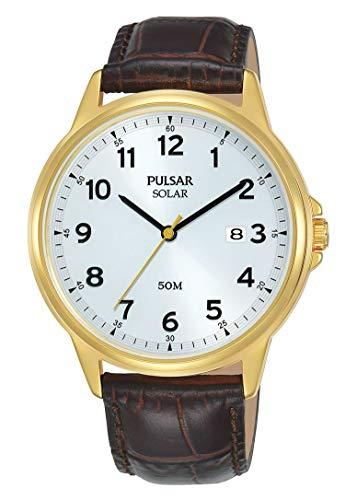 Seiko UK Limited - EU Heren Analoog Japanse Quartz Pulsar Solar Jurk Horloge met Lederen Band met Echte Lederen Band PX3200X1