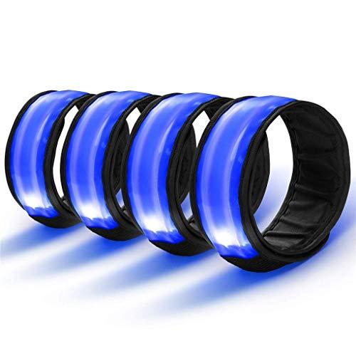 4 Stück LED Armband Sicherheit Reflektor Armband mit Drei Beleuchtungs modi LED Slap Armbänder/Armband/Leuchtband/Reflektorband für Laufen Joggen Radfahren Hundewandern Running und Outdoor Sports