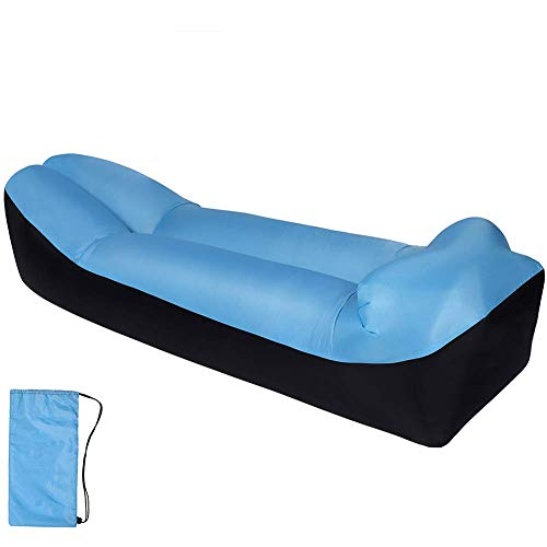 GuoEY Inflatable Lounger,Premium Airbed For Travelling,Camping,Hiking,Perfect Air Mattress For Picnics Or Festivals Blue