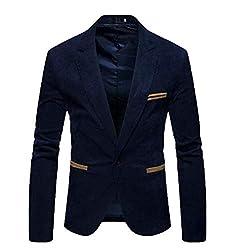 creative concepts Mens Slim fit Party wear Blazer Suede Blue