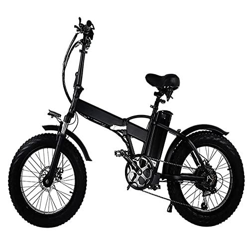 Bicicleta eléctrica compactada de 2 ruedas, bicicleta automática al aire libre de 48V15AH con motor de 500W y neumáticos de 20 pulgadas, capacidad de escalada de 30 °, velocidad de 40-50 km / h, negro