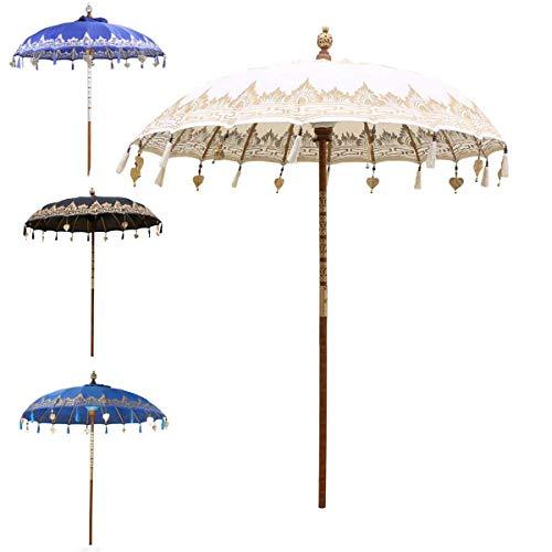 Oriental Galerie Bali Sonnenschirm Balinesischer Garten Schirm Baumwolle Sonnenschutz Handarbeit Retro Vintage Dekoschirm 2-teilig ca.180 cm Einfache Bemalung, Design:Nr. 6