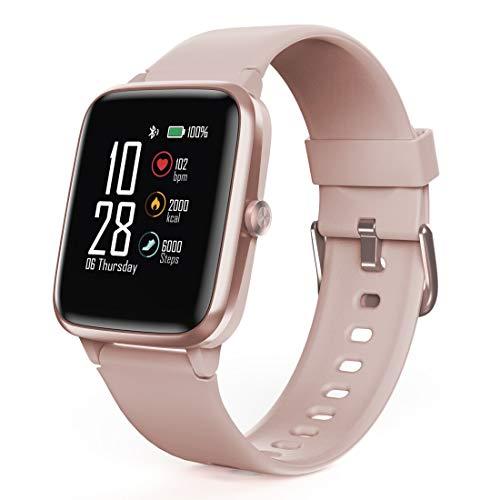 Hama Smartwatch 5910, GPS, wasserdicht (Fitnesstracker für Herzfrequenz/Kalorien, Sportuhr mit Schrittzähler, Schlafmonitor, Musiksteuerung, Fitness Armband für Damen, 6 Tage Akkulaufzeit) Rosé