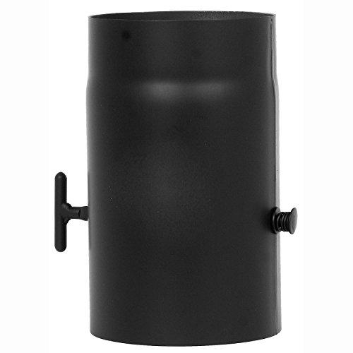 Rauchrohr mit 250 mm Länge mit Drosselklappe Schwarz 2 mm Stärke Ø 150 mm Ofenrohr