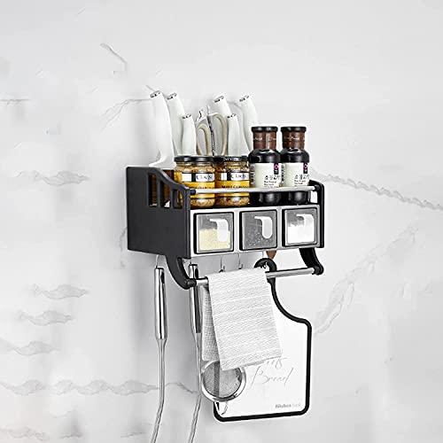 Estante de almacenamiento Estante de frutas Estante de verduras cubiertos de pared, con ganchos móviles, estante de almacenamiento de cocina colgante, con caja de condimentos sellados, tubo de cubiert