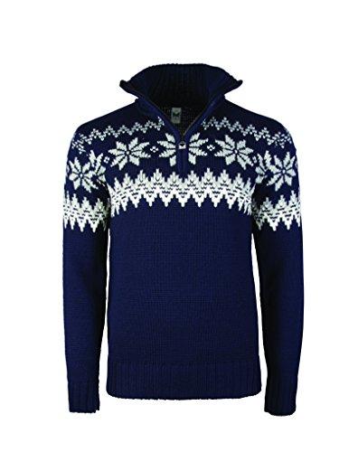 Dale of Norway Men's Myking Pullover Sweater of 100% Air-Spun Merino Wool (Medium, Navy)
