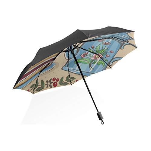 XL Regen Regenschirm Tea time Berry Kuchen teekanne tragbare kompakte klappschirm Anti uv Schutz Winddicht Outdoor Reise Frauen regenschirme für Kinder