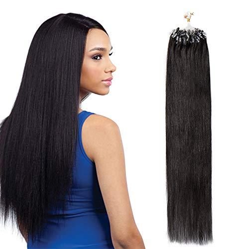 Extension Cheveux Naturel a Froid Micro Loop - Rajout Cheveux Humain Anneaux (#1B Noir naturel, 24\