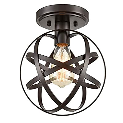 CLAXY Ecopower Antique Spherical Flush Mount Ceiling Light Metal Globe Fixture with Cage