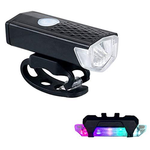 ADJU Fahrradlicht-LED-Set, Fahrradscheinwerfer mit Fahrradrücklicht hinten, wiederaufladbar, 300 Lumen wasserdicht Mountainbiken auf der Straße
