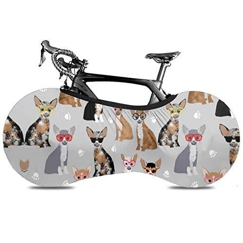 Colorido Mexicano Loteria Portátil Cubierta de Bicicleta Cubierta Interior Anti Polvo Alta Elástica Rueda Cubierta de Bicicleta Protector Rip Stop Neumático Carretera Mtb Bolsa de Almacenamiento, Perro Chihuahua (2), talla única