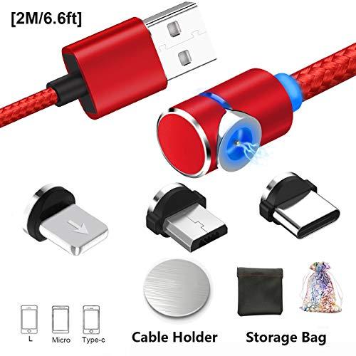 Magnet USB Kabel 3-in-1 Magnetisches Ladekabel(No-Sync-Daten) | Micro 、Lighting 、Type C USB C Aufladen von Adapter mit 1 Magic Cable Halter für Android Phone (2M/6.6ft, 2-Red/Rot)