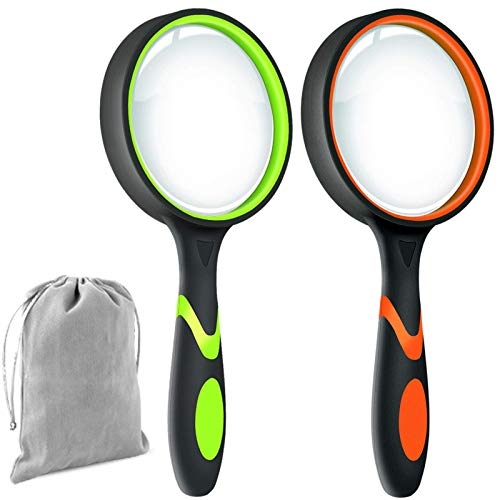 Leffis 2 Pack 10X Magnifying Glass for Seniors & Kids, Non-Slip Handheld Magnifier for Reading, 75mm Magnify Glasses Lens for Close Work, Science and Hobby Observation
