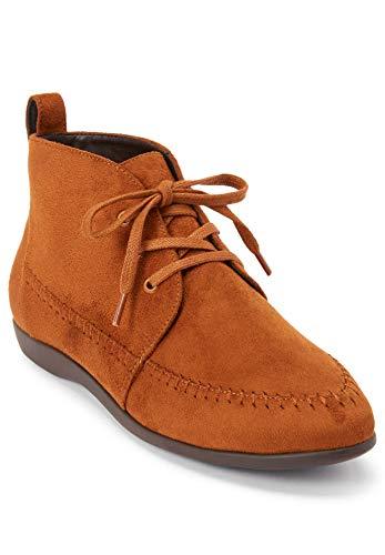 Comfortview Women's Wide Width The Elsa Bootie Lace Up Ankle Boot - 10 1/2WW, Cognac