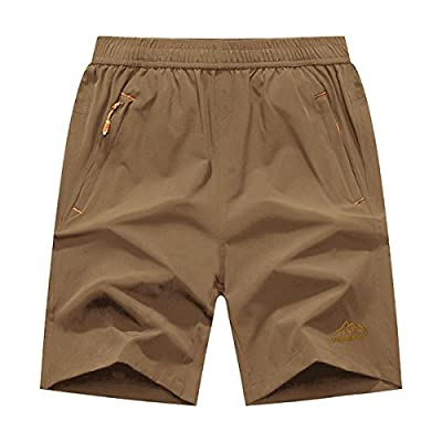 JINSHI Men's Outdoor Quick Dry Lightweight Sports Hiking Shorts Zipper Pockets (Khaki,L)