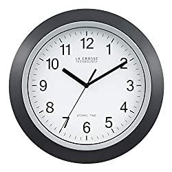 La Crosse Technology WT-3129B 12 Inch Atomic Analog Wall Clock, Black