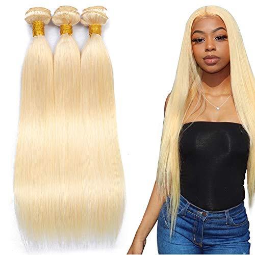 613 Blonde Brazilian Straight Hair Bundles (28 28 28) 9A Virgin Human Hair Weave 613 Hair 3 Bundles (28 28 28 Inch)