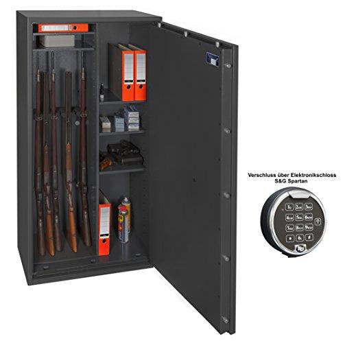 Waffenschrank Gun Safe N 1-8Kombi (1548x848x418mm) Klasse 0, 8 Waffenhalter + Regalteil Elektronikschloss